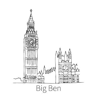 Słynny big ben rysunek szkic ilustracji w londynie. ilustracja wektorowa