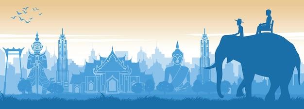 Słynny punkt orientacyjny tajlandii w projektowaniu scenerii i turysta na plecach słonia
