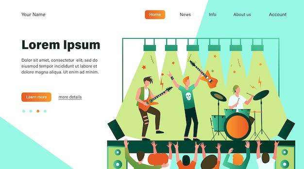 Słynny zespół rockowy grający muzykę i śpiewający na scenie płaskiej ilustracji.