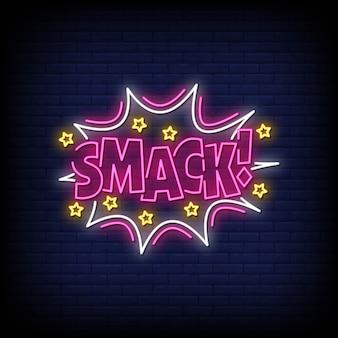 Smack neony styl tekst wektor
