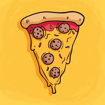 Smaczna kawałek pizzy z różnymi dodatkami topionego sera