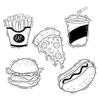 Smaczna kolekcja fast foodów z ręcznie rysowanym lub doodle stylem na białym tle