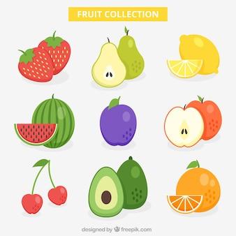 Smaczna kolekcja owoców w płaskim stylu