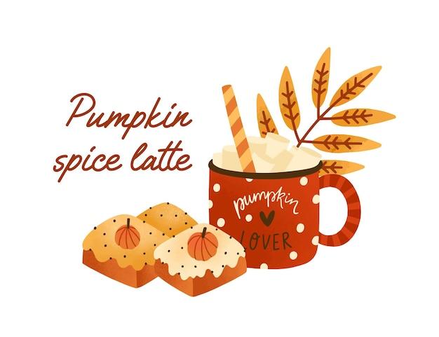Smaczna latte z przyprawami dyniowymi w ślicznej czerwonej filiżance ze słodkimi herbatnikami. kawa z piankami i kawałkami ciasta. pyszny sezonowy gorący napój na białym tle. ilustracja wektorowa w stylu płaski.