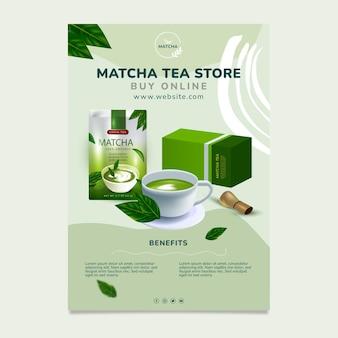 Smaczna pionowa ulotka z herbatą matcha