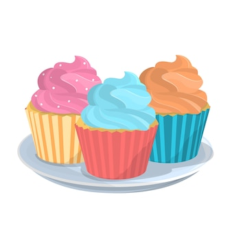 Smaczna słodka babeczka lub babeczka na talerzu