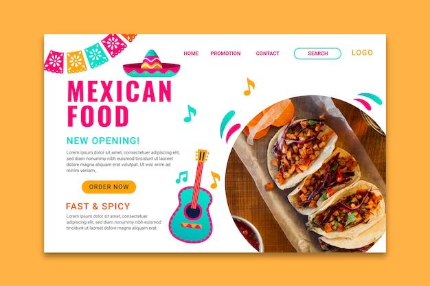 Smaczna strona docelowa meksykańskiego jedzenia