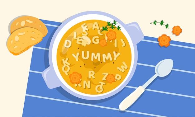 Smaczna zupa w misce z dodatkiem listów z makaronu, zieleni i marchewki, gotowana przez kochających i kreatywnych rodziców dla swoich dzieci. wybredny problem z jedzeniem. wyzwania dla rodziców. zdrowie i uroda
