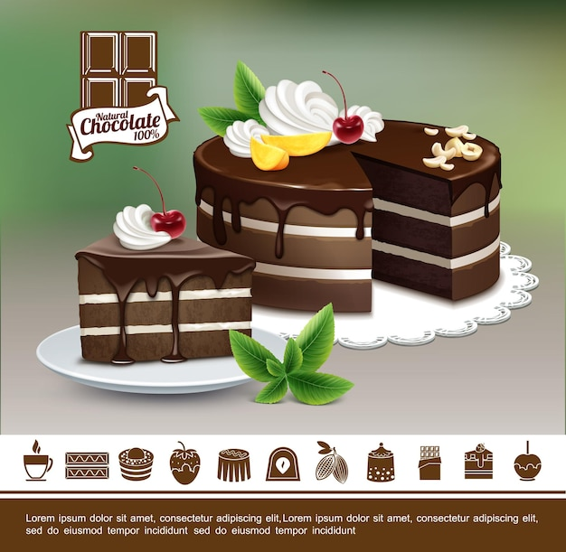 Smaczne desery kolorowe koncepcja z realistycznymi ciastami czekoladowymi z orzechami krem wiśniowe plastry mango i ikony czekoladowych słodkich produktów
