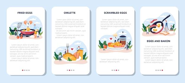 Smaczne jajka sadzone na śniadanie zestaw transparentu aplikacji mobilnej. jajecznica z warzywami i boczkiem. rano pyszne jedzenie. żółtko żółte.