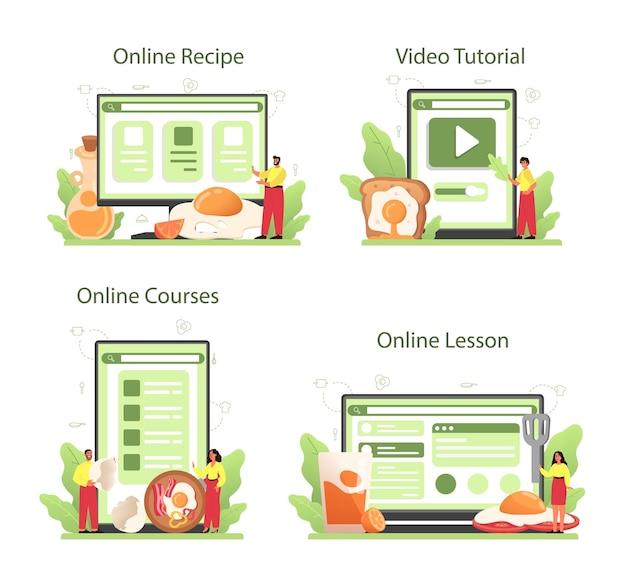 Smaczne jajka sadzone z warzywami i boczkiem na śniadanie w serwisie internetowym lub na platformie.