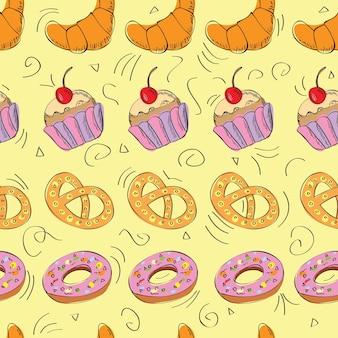 Smaczne jedzenie ręcznie rysowane wzór - wektor
