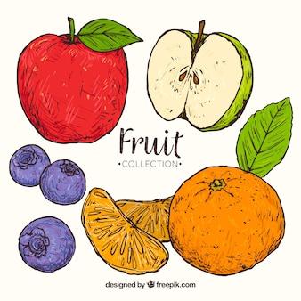 Smaczne kawałki owoców w ręcznie rysowanym stylu