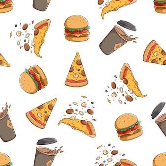 Smaczne niezdrowe jedzenie w jednolitym wzorze