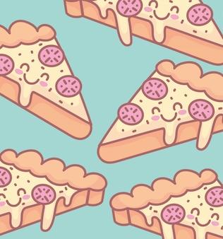 Smaczne pizzy postać menu restauracja kreskówka jedzenie słodkie
