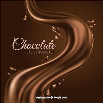 Smaczne płyn czekolada splash w realistycznym stylu