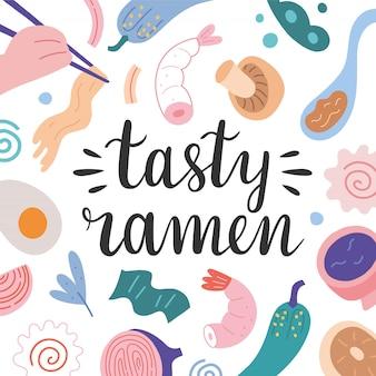 Smaczne ramen napis z ilustracja jedzenie