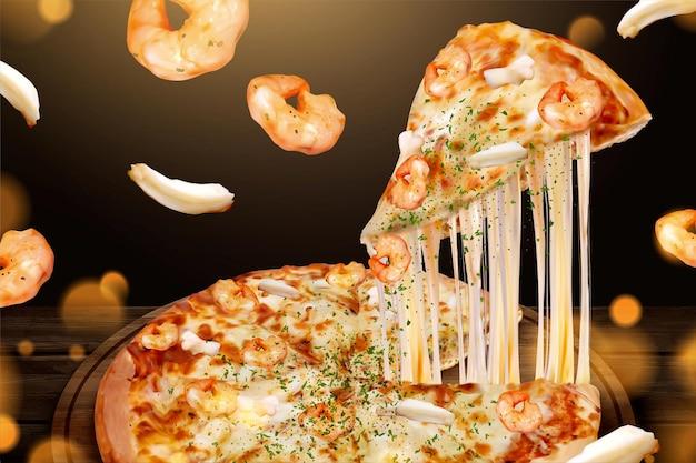 Smaczne reklamy pizzy z owocami morza z twarogiem na ilustracji 3d, krewetkami i składnikami pierścienia kalmarów