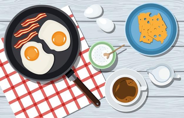 Smaczne śniadanie na drewnianym stole w wektorze. omlet z boczkiem, serem i kawą. kobieta ugniata ciasto na niebieskim stole. widok z góry. gotowanie pizzy. składniki na stole. ilustracja