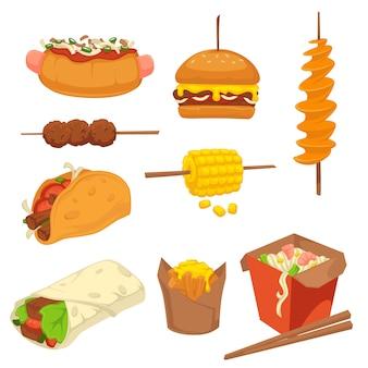 Smaczne świeże produkty fast food z zestawem wysokokalorycznym