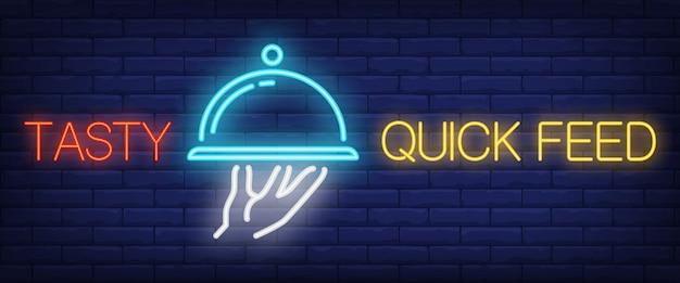 Smaczne szybkie karmienie znak w stylu neonu