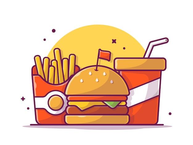 Smaczny kombinacja dzieciaka posiłku menu serowy hamburger z frytkami i sodą, ilustracyjny biel odizolowywający