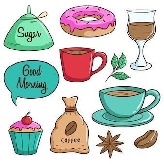 Smaczny obiad z kawą, pączkami i ciastkami przy użyciu kolorowego stylu doodle