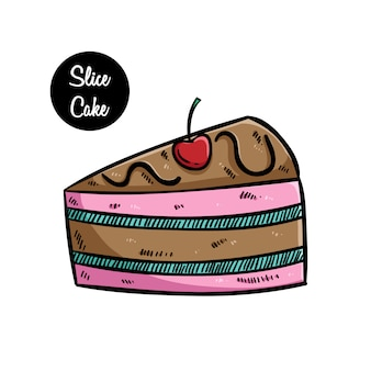 Smaczny plasterek ciasta z wiśnią przy użyciu kolorowych ręcznie rysowane sztuki