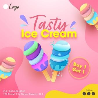 Smaczny projekt plakatu na lody w różowym kolorze z ofertą kup 1, odbierz 1
