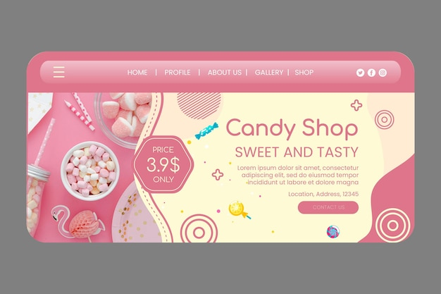 Smaczny szablon strony docelowej sklepu ze słodyczami