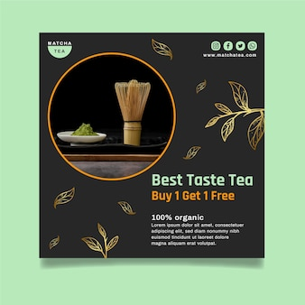 Smaczny szablon ulotki z herbatą matcha w kwadraty
