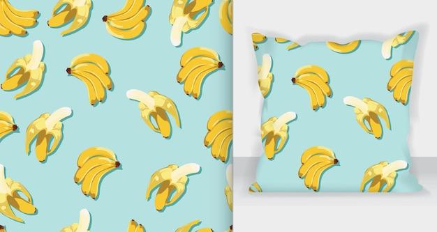 Smaczny wzór bananów z makieta z kwadratową poduszką.
