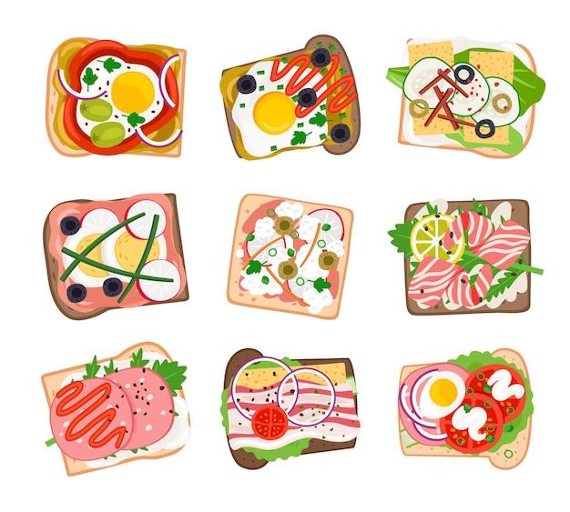 Smaczny zestaw kanapek. kreskówka hamburgery ze świeżych pomidorów i cebuli, tosty szynką i serem, grillowane jajka i bekon, ilustracja wektorowa hamburgerów na białym tle