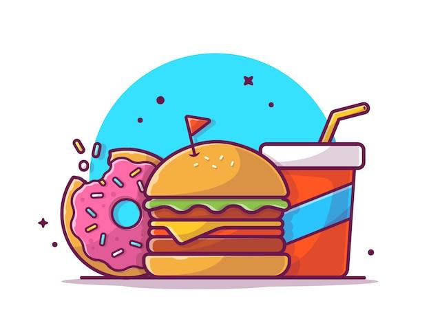 Smakowitego combo menu serowy hamburger z pączkiem i sodą, ilustracyjny biel odizolowywający