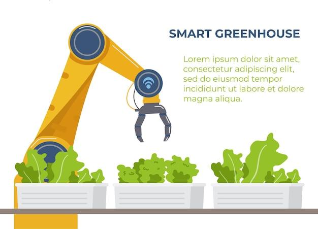 Smart greenhouse banner agriculture zautomatyzowany robot w pobliżu plantacji sałatek