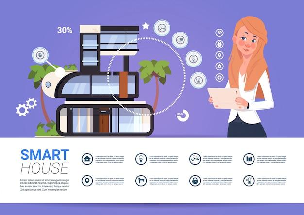 Smart home technology banner z kobieta gospodarstwa cyfrowego urządzenia tablet z systemem kontroli