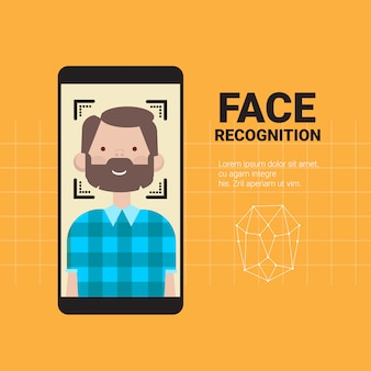 Smart phone scanning man face nowoczesny system rozpoznawania technologia kontroli dostępu koncepcja identyfikacji biometrycznej