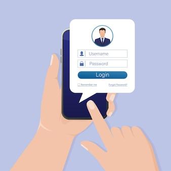 Smartfon do logowania użytkownika do witryny. interfejs użytkownika strony aplikacji. telefon, komórka, smartfon. ekran urządzenia. ikona biznes.