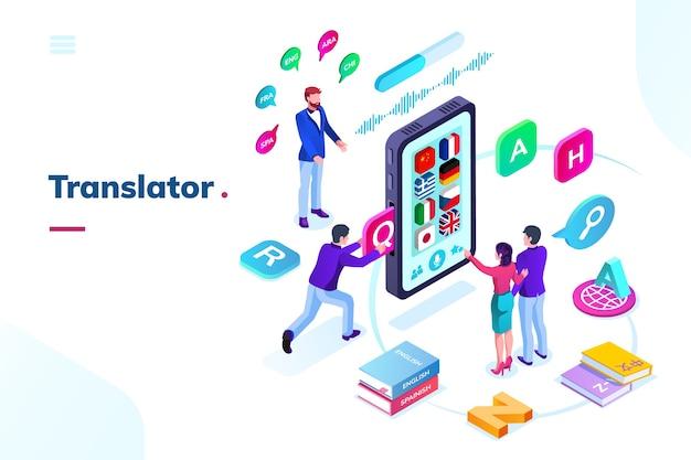 Smartfon lub telefon z tłumaczem języka online