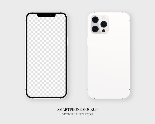 Smartfon. pusty smartfon z przodu iz tyłu na białym tle na szarym tle.