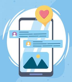 Smartfon rozmawiający na czacie z romantyczną komunikacją i technologiami w sieciach społecznościowych