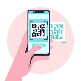 Smartfon skanujący kod qr