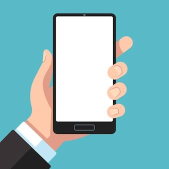Smartfon w dłoni. biznesmen ręka trzyma telefon komórkowy. telefon komórkowy w szablonie ramienia dla ilustracji prezentacji aplikacji