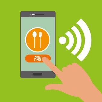 Smartfon w ręku do zakupów online i płatności nfc