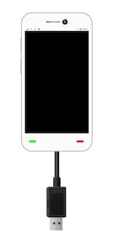 Smartfon w trybie połączenia usb z kablem usb