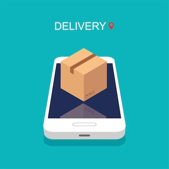Smartfon z aplikacją do dostawy. zakupy online. pudełko kartonowe lub opakowanie na wyświetlaczu telefonu. śledzenie zamówienia.