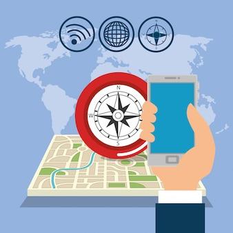 Smartfon z aplikacją do nawigacji gps
