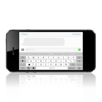 Smartfon z aplikacją do obsługi wiadomości sms. okno komunikatora.