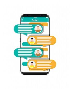 Smartfon z aplikacją do przesyłania wiadomości sms.