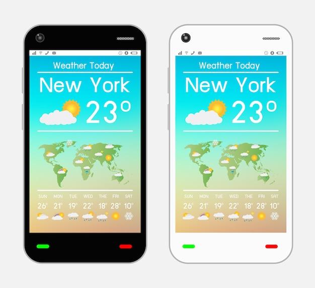 Smartfon z aplikacją pogodową na ekranie